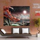 Dragon Girl Night Moon Fantasy Art Huge Giant Print Poster
