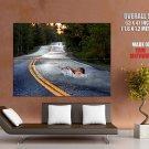 Swimmer Crossing Asphalt Road Huge Giant Print Poster