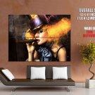 Clown Girl Smoking Cigar Cool Art Huge Giant Print Poster
