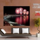 Bay Crowd Sea Fireworks Night Holiday Huge Giant Print Poster
