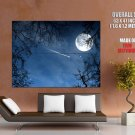 Shhoting Star Moon Branches Landscape Huge Giant Print Poster