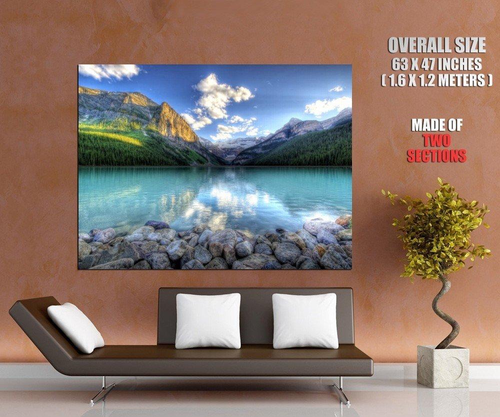 Clear Blue Lake Cliffs Landscape Huge Giant Print Poster