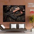 Ak Kalashnikov Gasmask Weapon Huge Giant Print Poster