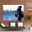 Winter Camouflage Snow Soldier Weapon Huge Giant Print Poster