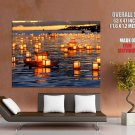 Hawaii Floating Lanterns Sunset Holiday Huge Giant Print Poster