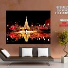 Christmas City Lights Water Reflections Huge Giant Print Poster