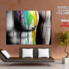 Hot Sexy Male Breast Nipple Paint Color Huge Giant Print Poster