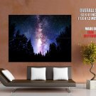 Milky Way Stars Trees Night Space Huge Giant Print Poster