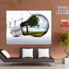 Alternative Energy Lightbulb Hi Tech Huge Giant Print Poster