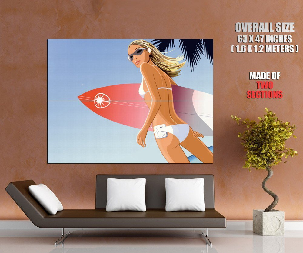 Hot Surfer Girl Sexy Cool Art Huge Giant Print Poster