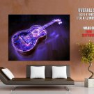 Neon Guitar Lights Creative Cool Art Huge Giant Print Poster