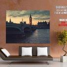 London At Dusk Bridge Huge Giant Print Poster