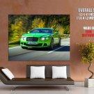 Bentley Continental Gt Green Car Huge Giant Print Poster