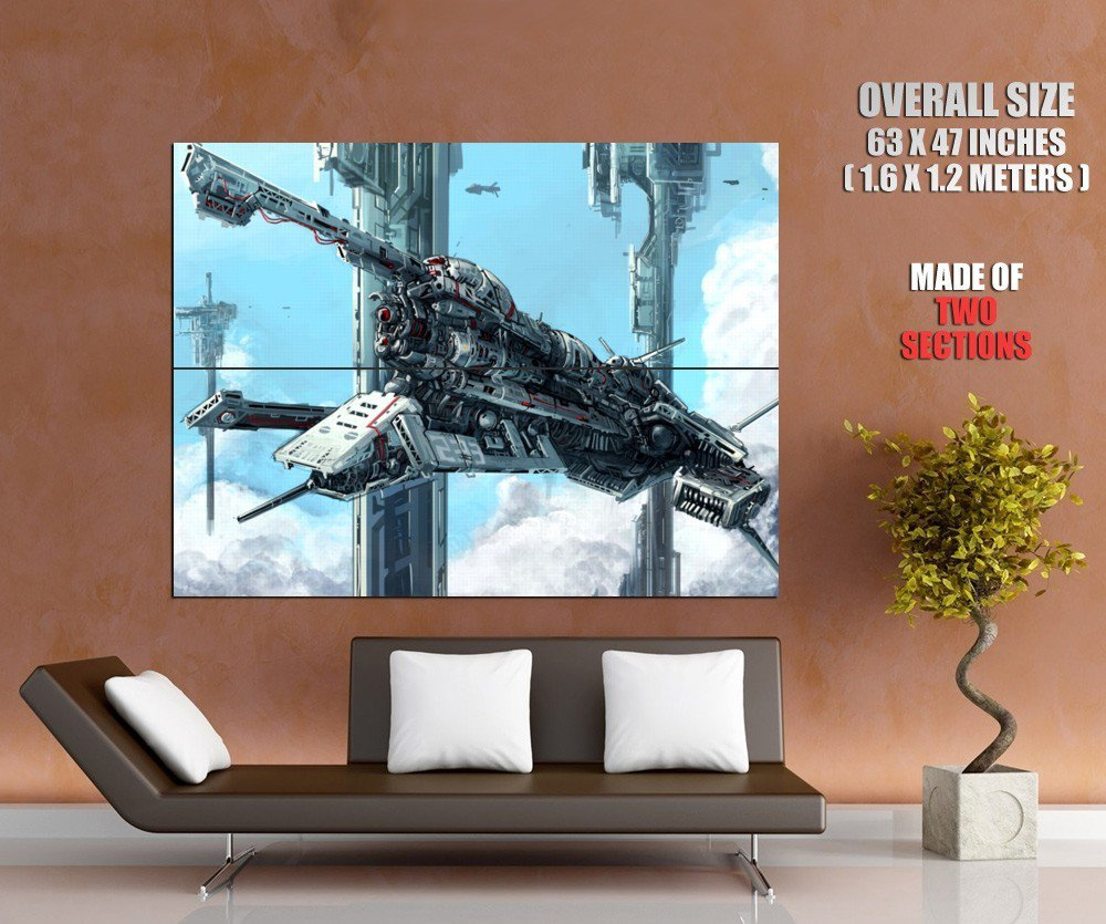 Battle Starship Spaceship Painting Art HUGE GIANT Print Poster