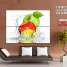 Apples Water Splashes Fruits Macro Food HUGE GIANT Print Poster