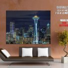 Seattle Space Needle Night HUGE GIANT Print Poster