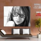 Beautiful Anime Girl BW Portrait Drawing Art HUGE GIANT Print Poster