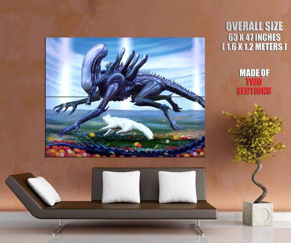 Alien Cat Love Sci Fi Cool Art Huge Giant Print Poster