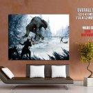 Monster Hunters Battle Snow Fantasy Art HUGE GIANT Print Poster