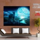 Wolf Night Planet Fantasy Art Huge Giant Print Poster