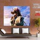 Battle Bear Rider Snow Fantasy Art HUGE GIANT Print Poster