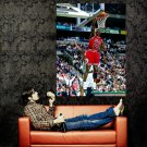 Michale Jordan Dunk Chicago Bulls NBA Huge 47x35 Print POSTER
