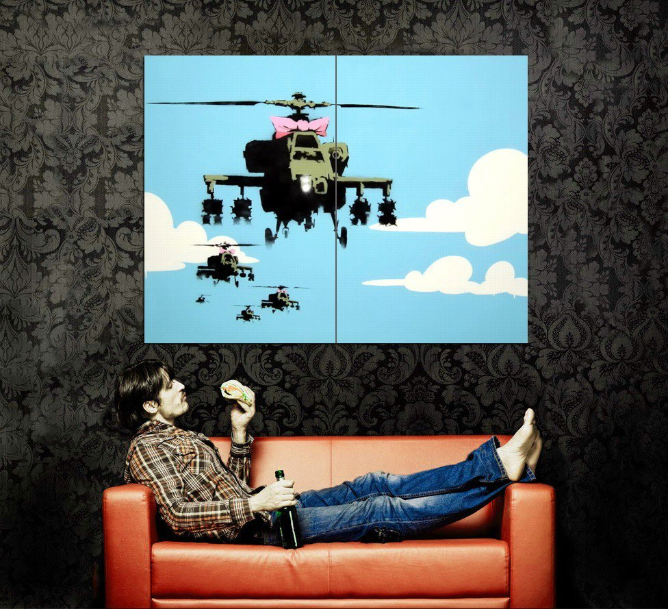 Helicopters Happy Choppers Banksy Graffiti Street Art Huge 47x35 Print POSTER