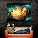 Pirate Parrot Magic Skull Sunset Art Huge 47x35 Print POSTER