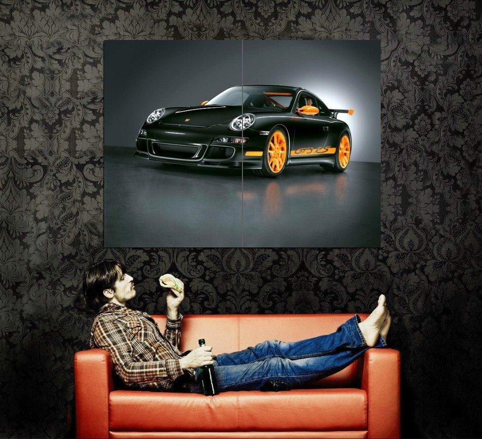 Porsche 911 GT3 RS Black Sport Car Huge 47x35 Print POSTER