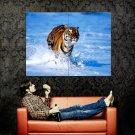 Bengal Tiger Running Water Nature Animals Huge 47x35 Print POSTER