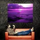 Beautiful Purple Sunset Sea Waves Nature Landscape Huge 47x35 Print POSTER