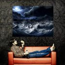 Storm Sea Waves Night Moon Painting Art Nature Huge 47x35 Print POSTER