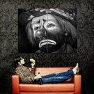 Sad Clown Pencil Drawing Art Huge 47x35 Print POSTER