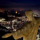 Jesus Night Cristo Redentor Rio De Janeiro Brasil Huge 47x35 Print Poster