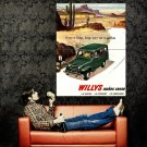Jeep Willys Vintage Commercial Retro Ad Art Huge 47x35 POSTER