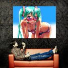 Hatsune Miku Sexy Bikini Hot Girl Tongue Anime Art Huge 47x35 POSTER