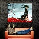 Girl Black Coat Red Petals Wind Snow Anime Art Huge 47x35 POSTER
