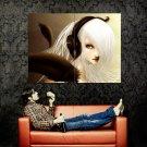 Blonde Girl Headphones Style Art Huge 47x35 Print POSTER