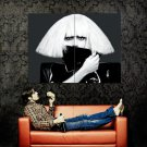 Lady Gaga Blond Weird Hairstyle BW Huge 47x35 Print POSTER