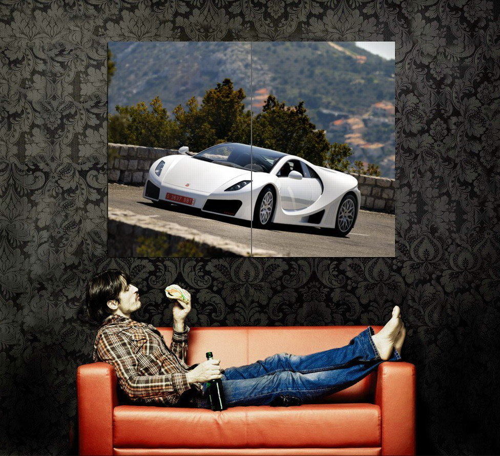 GTA Spano White Supercar Huge 47x35 Print POSTER