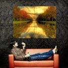 Autumn Water Alley Sunset Landscape Huge 47x35 Print POSTER