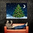 Christmas Tree Stars Moon Night Art Huge 47x35 Print POSTER