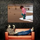 Little Girl Playing Seashore Beach Mood Huge 47x35 Print POSTER