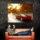 Chevrolet Corvette Red Motion Blur Car Huge 47x35 Print POSTER