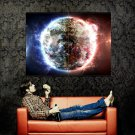 Burning Planet Flames Space Huge 47x35 Print POSTER