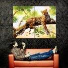 Leopard Tree Nature Animal Painting Art Huge 47x35 Print Poster