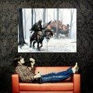Warrior Dragon Battle Fantasy Painting Art Huge 47x35 Print Poster