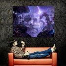 Fantasy Landscape Mushrooms Artwork Huge 47x35 Print Poster