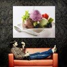 Ice Cream Dessert Fruits Macro Food Huge 47x35 Print Poster