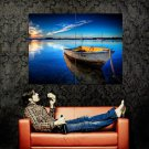 Sunset Peaceful Boat Lake Huge 47x35 Print Poster